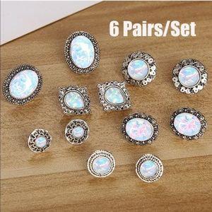 6 Pairs Opal Boho Bohemian Earrings Set